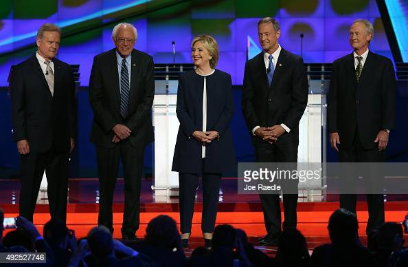 Democratic presidential candidates Jim Webb US Sen Bernie Sanders Hillary Clinton Martin O'Malley and Lincoln Chafee take the stage for a...