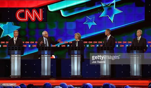 Democratic presidential candidates Jim Webb US Sen Bernie Sanders Hillary Clinton Martin O'Malley and Lincoln Chafee take part in presidential debate...