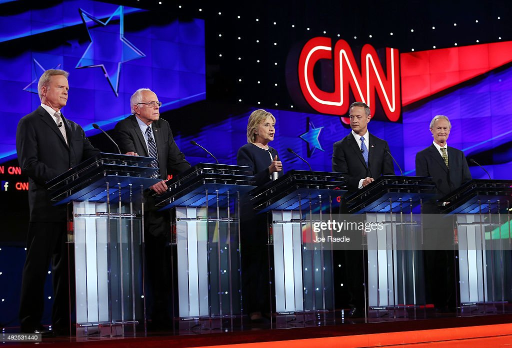 Democratic presidential candidates Jim Webb us Sen Bernie Sanders Hillary Clinton Martin O'Malley and Lincoln Chafee take part in presidential debate...