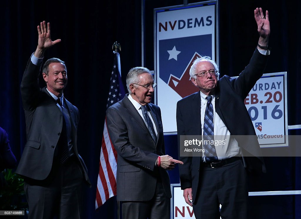 Democratic Presidential candidates <a gi-track='captionPersonalityLinkClicked' href=/galleries/search?phrase=Martin+O%27Malley&family=editorial&specificpeople=653318 ng-click='$event.stopPropagation()'>Martin O'Malley</a> (L) and Sen. <a gi-track='captionPersonalityLinkClicked' href=/galleries/search?phrase=Bernie+Sanders&family=editorial&specificpeople=2908340 ng-click='$event.stopPropagation()'>Bernie Sanders</a> (I-VT) (R) on stage with Senate Minority Leader <a gi-track='captionPersonalityLinkClicked' href=/galleries/search?phrase=Harry+Reid+-+Politician&family=editorial&specificpeople=203136 ng-click='$event.stopPropagation()'>Harry Reid</a> (D-NV) (2nd L) prior to the Battle Born/Battleground First in the West Caucus Dinner at the MGM Grand January 6, 2016 in Las Vegas, Nevada. The three candidates continue to campaign prior to the Nevada Democratic caucus, which will take place on February 20, 2016.