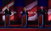 Democratic presidential candidates Martin O'Malley Hillary Clinton and Bernie Sanders participate in the NBC News YouTube Democratic Candidates...