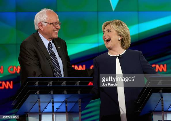 Democratic presidential candidates Sen Bernie Sanders and Hillary Clinton take part in a presidential debate sponsored by CNN and Facebook at Wynn...