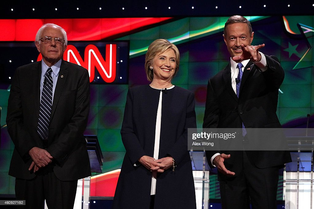 Democratic presidential candidates (L-R) Sen. <a gi-track='captionPersonalityLinkClicked' href=/galleries/search?phrase=Bernie+Sanders&family=editorial&specificpeople=2908340 ng-click='$event.stopPropagation()'>Bernie Sanders</a> (I-VT), <a gi-track='captionPersonalityLinkClicked' href=/galleries/search?phrase=Hillary+Clinton&family=editorial&specificpeople=76480 ng-click='$event.stopPropagation()'>Hillary Clinton</a> and <a gi-track='captionPersonalityLinkClicked' href=/galleries/search?phrase=Martin+O%27Malley&family=editorial&specificpeople=653318 ng-click='$event.stopPropagation()'>Martin O'Malley</a> take the stage for a presidential debate sponsored by CNN and Facebook at Wynn Las Vegas on October 13, 2015 in Las Vegas, Nevada. The candidates participated in the party's first presidential debate with Jim Webb and Lincoln Chafee.