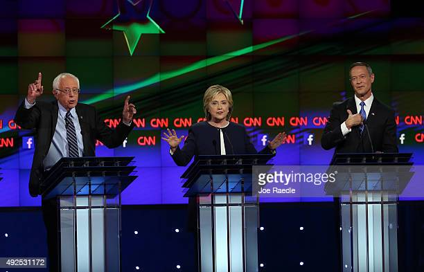Democratic presidential candidates Sen Bernie Sanders Hillary Clinton and Martin O'Malley take part in a presidential debate sponsored by CNN and...
