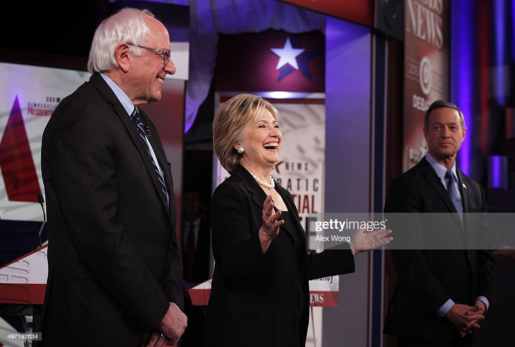 Democratic presidential candidates (L-R) Sen. <a gi-track='captionPersonalityLinkClicked' href=/galleries/search?phrase=Bernie+Sanders&family=editorial&specificpeople=2908340 ng-click='$event.stopPropagation()'>Bernie Sanders</a> (I-VT), <a gi-track='captionPersonalityLinkClicked' href=/galleries/search?phrase=Hillary+Clinton&family=editorial&specificpeople=76480 ng-click='$event.stopPropagation()'>Hillary Clinton</a> and <a gi-track='captionPersonalityLinkClicked' href=/galleries/search?phrase=Martin+O%27Malley&family=editorial&specificpeople=653318 ng-click='$event.stopPropagation()'>Martin O'Malley</a> stand on the stage prior to a presidential debate sponsored by CBS at Drake University on November 14, 2015 in Des Moines, Iowa. The candidates participated in the party's second presidential debate.