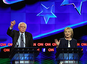 Democratic presidential candidates Sen US Bernie Sanders and Hillary Clinton take part in a presidential debate sponsored by CNN and Facebook at Wynn...