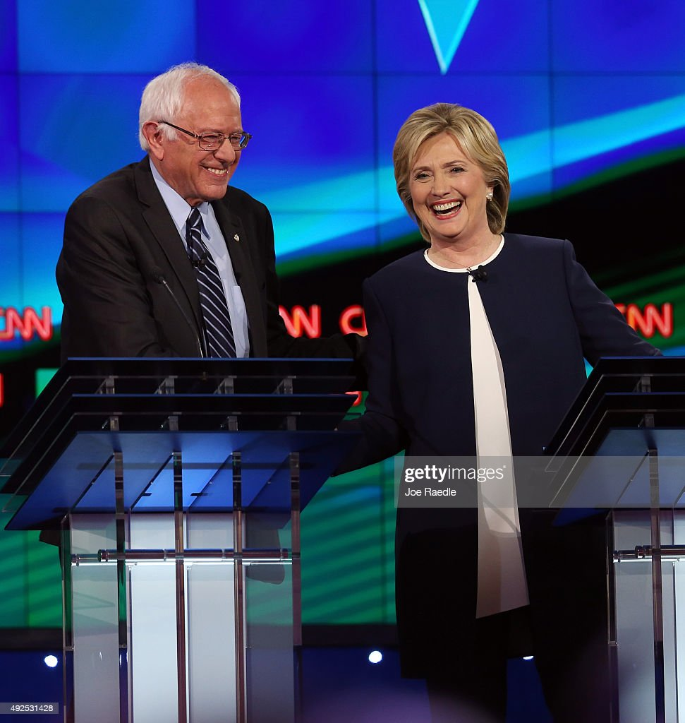 Democratic presidential candidates US Sen Bernie Sanders and Hillary Clinton take part in a presidential debate sponsored by CNN and Facebook at Wynn...