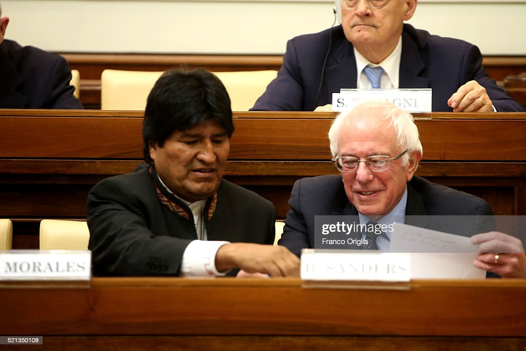U.S. Democratic presidential canditate <a gi-track='captionPersonalityLinkClicked' href=/galleries/search?phrase=Bernie+Sanders&family=editorial&specificpeople=2908340 ng-click='$event.stopPropagation()'>Bernie Sanders</a> (R) sits with Bolivia's President <a gi-track='captionPersonalityLinkClicked' href=/galleries/search?phrase=Evo+Morales&family=editorial&specificpeople=272981 ng-click='$event.stopPropagation()'>Evo Morales</a> during 'Centesimus Annus 25 Years Later Symposiumon' at the Casina Pio IV April 15, 2016 in Vatican City, Vatican. Candidate <a gi-track='captionPersonalityLinkClicked' href=/galleries/search?phrase=Bernie+Sanders&family=editorial&specificpeople=2908340 ng-click='$event.stopPropagation()'>Bernie Sanders</a> came to Rome to attend a conference sponsored by the Pontifical Academy of Social Sciences marking the 25th anniversary of Pope St. John Paul II's social encyclical 'Centesimus Annus.'