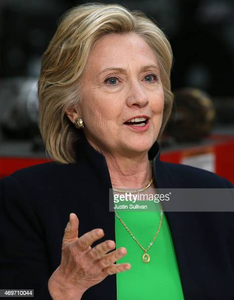Democratic presidential hopeful and former Secretary of State Hillary Clinton speaks during a roundtable discussion with students and educators at...