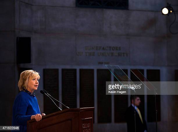 Democratic presidential hopeful and former Secretary of State Hillary Clinton speaks during the David N Dinkins Leadership and Public Policy Forum at...