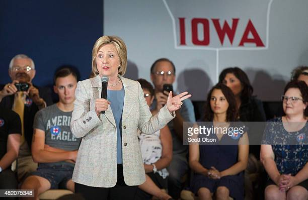 Democratic presidential hopeful and former Secretary of State Hillary Clinton speaks to guests gathered for a campaign event at Iowa State University...