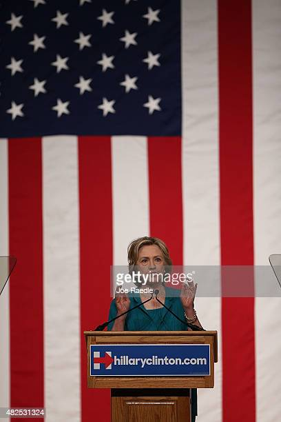 Democratic Presidential hopeful and former Secretary of State Hillary Clinton calls for an end to the Cuban trade embargo as she gives a policy...