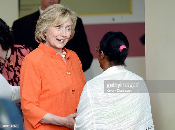 Democratic Presidential hopeful and former Secretary of State Hillary Clinton greets Aretha Peters a home care provider from Cleveland Ohio at a...