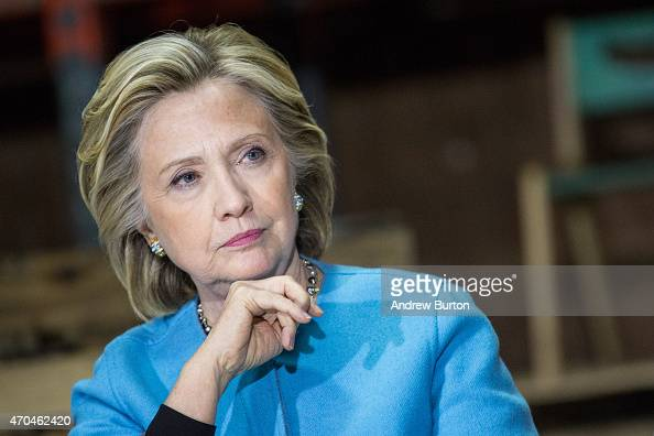 Democratic presidential hopeful and former US Sectetary of State Hillary Clinton speaks to employees of Whitney Brothers an educational furniture...