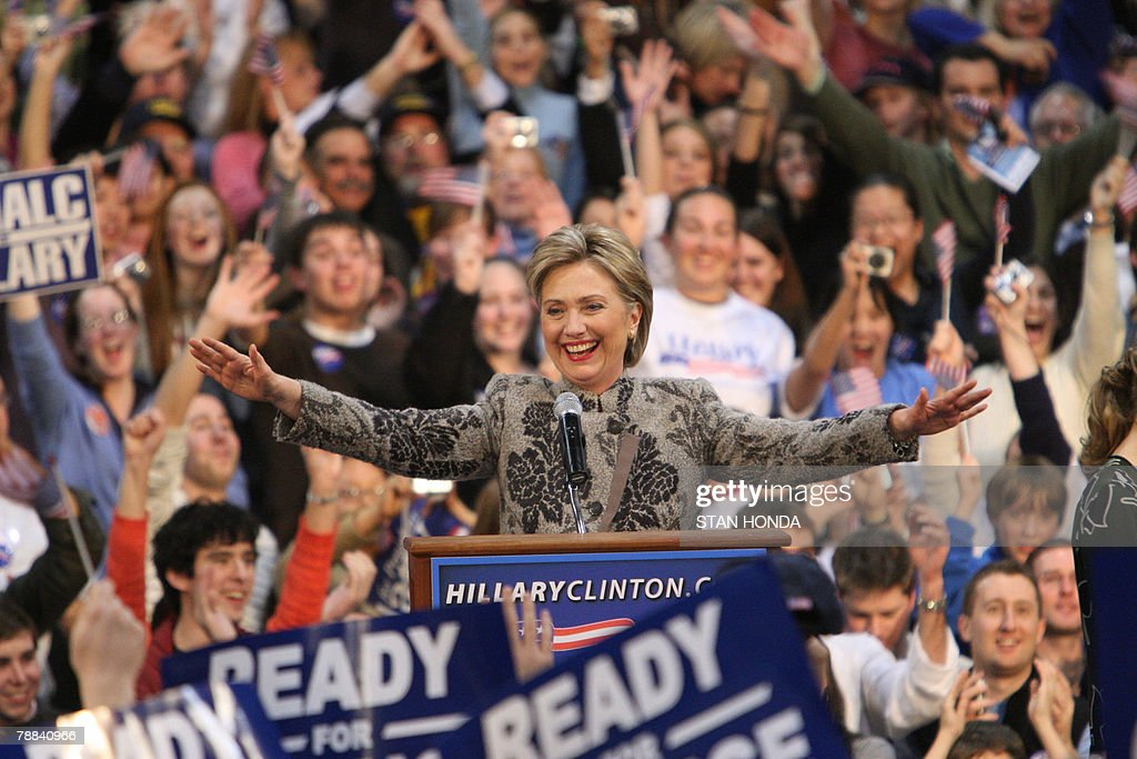 Democratic presidential hopeful and New York Senator Hillary Clinton celebrates her victory in the state primary 08 January 2008 in Manchester New...