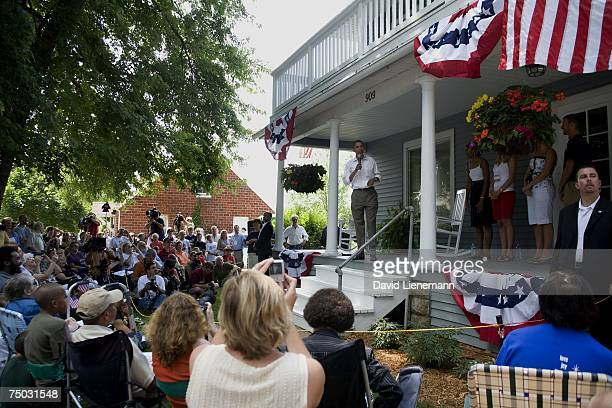 Democratic presidential hopeful Barack Obama speaks from the front porch of a home July 4 2007 in Pella Iowa The US senator from Illinois who is on a...