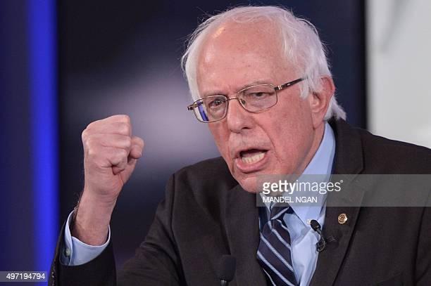 Democratic Presidential hopeful Bernie Sanders gestures during the second Democratic presidential primary debate in the Sheslow Auditorium of Drake...