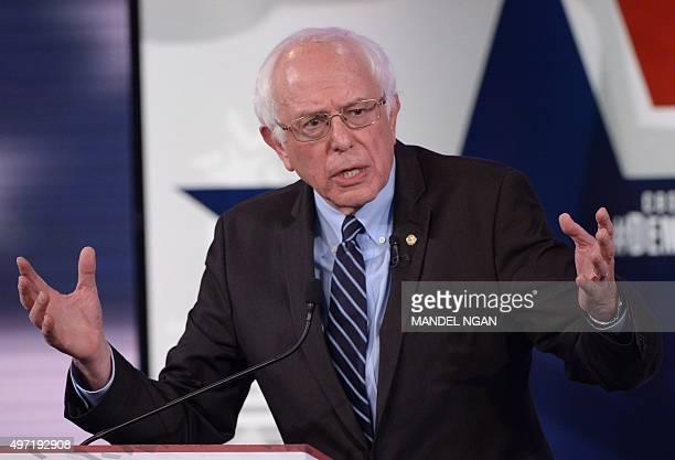 Democratic Presidential hopeful Bernie Sanders speaks during the second Democratic presidential primary debate in the Sheslow Auditorium of Drake...