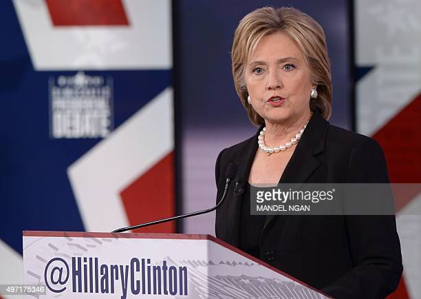 Democratic Presidential hopeful Hillary Clinton speaks during the second Democratic presidential primary debate in the Sheslow Auditorium of Drake...