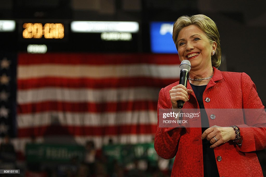 Democratic presidential hopeful Hillary Rodham Clinton speaks at a campaign rally at the University of Pennsylvania in Philadelphia, PA on April 21, 2008, one day before the Pennsylvania Democratic primary.