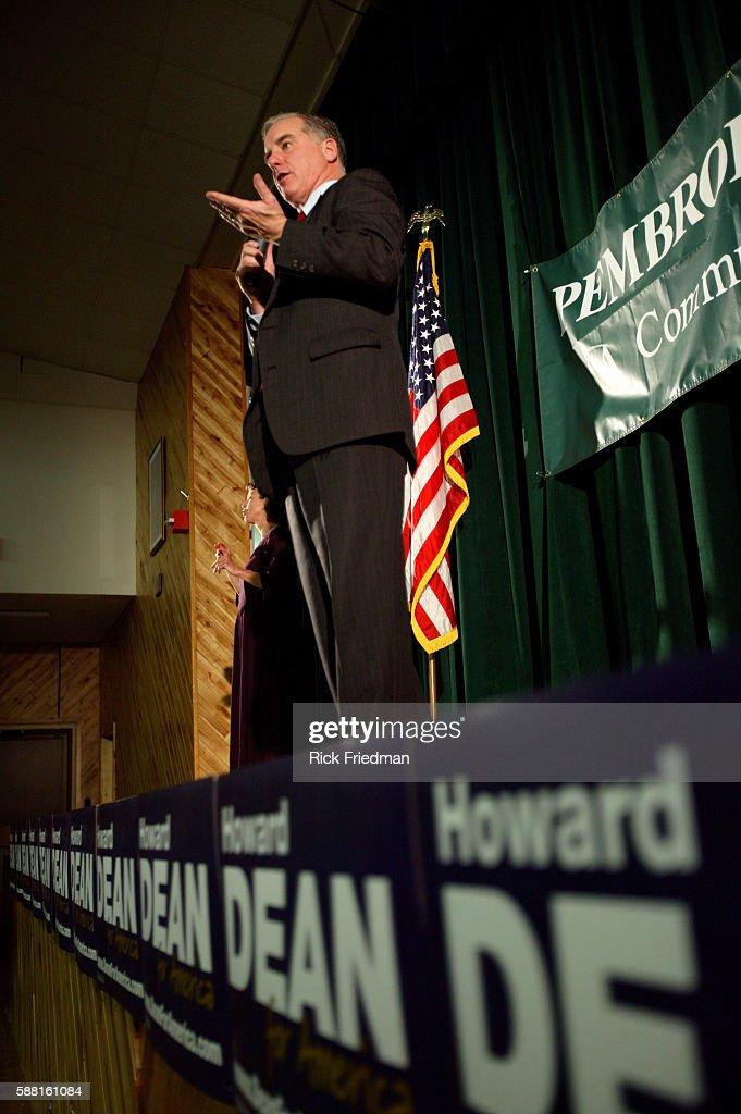 Democratic presidential hopeful Howard Dean speaks at Pembroke Academy