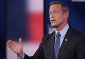 Democratic Presidential hopeful Martin OMalley gestures during the second Democratic presidential primary debate in the Sheslow Auditorium of Drake...
