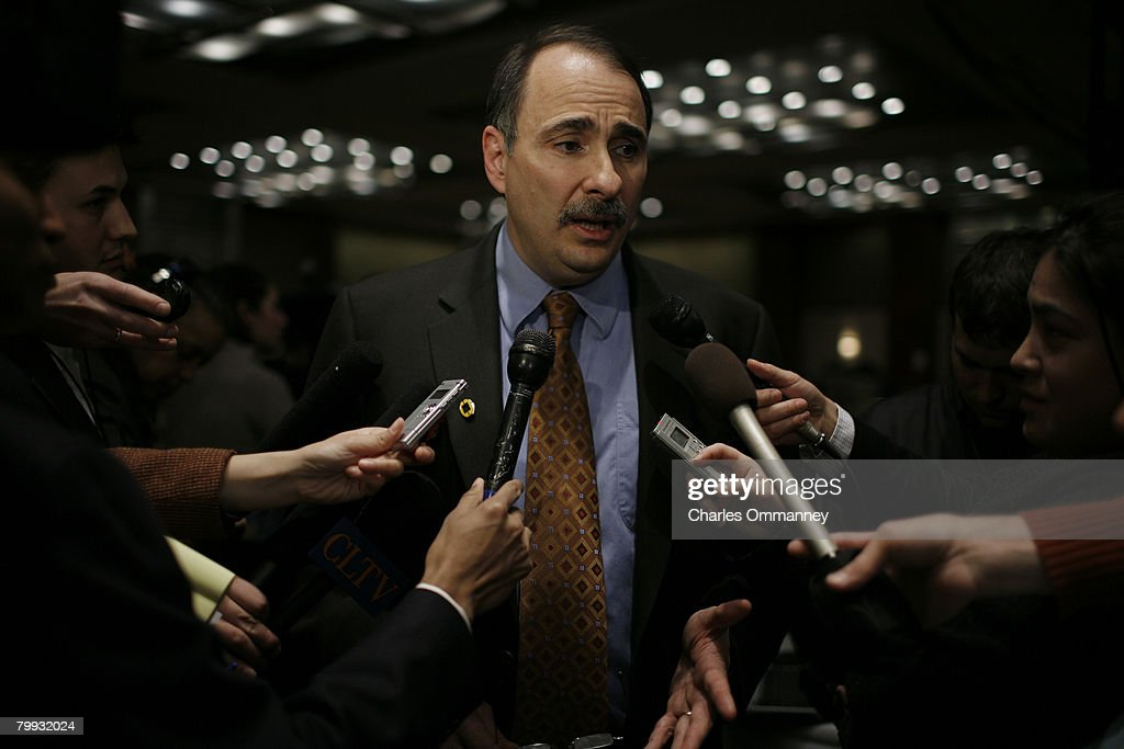 Democratic presidential hopeful Sen. Barack Obama's senior advisor David Axelrod speaks with the media before a Super Tuesday primary campaign rally at the Hyatt Hotel February 5, 2008 in Chicago, Illinois. Obama is facing off with rival contender Sen. Hillary Clinton (D-NY) on the biggest 'Super Tuesday' in American history.