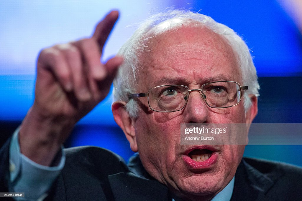Democratic presidential hopeful Sen. <a gi-track='captionPersonalityLinkClicked' href=/galleries/search?phrase=Bernie+Sanders&family=editorial&specificpeople=2908340 ng-click='$event.stopPropagation()'>Bernie Sanders</a> (D-VT) speaks at the New Hampshire Democratic Party's 2016 McIntyre Shaheen 100 Club Celebration on February 5, 2016 in Manchester, New Hampshire. The New Hampshire primary is next Tuesday, February 9, 2016.