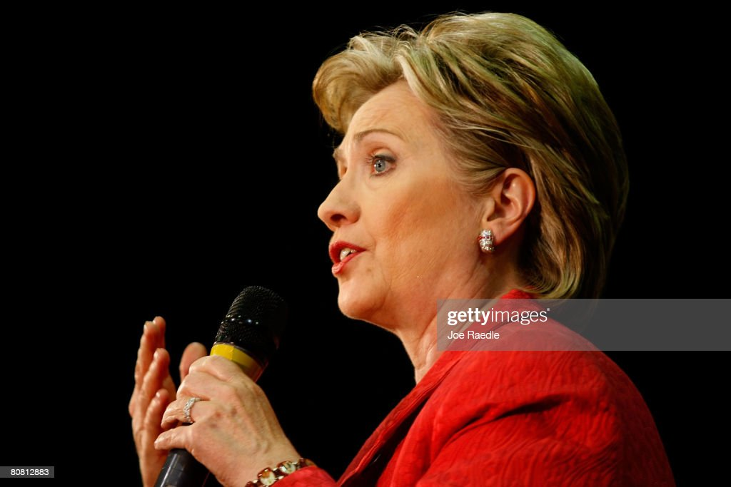 Democratic presidential hopeful Sen. <a gi-track='captionPersonalityLinkClicked' href=/galleries/search?phrase=Hillary+Clinton&family=editorial&specificpeople=76480 ng-click='$event.stopPropagation()'>Hillary Clinton</a> (D-NY) speaks during a campaign rally at the Zembo Event Center April 21, 2008 in Harrisburg, Pennsylvania. With one day to go until primary election day in Pennsylvania, Democratic hopefuls Sen. Barack Obama, (D-IL) and Clinton continue to make their points to voters.