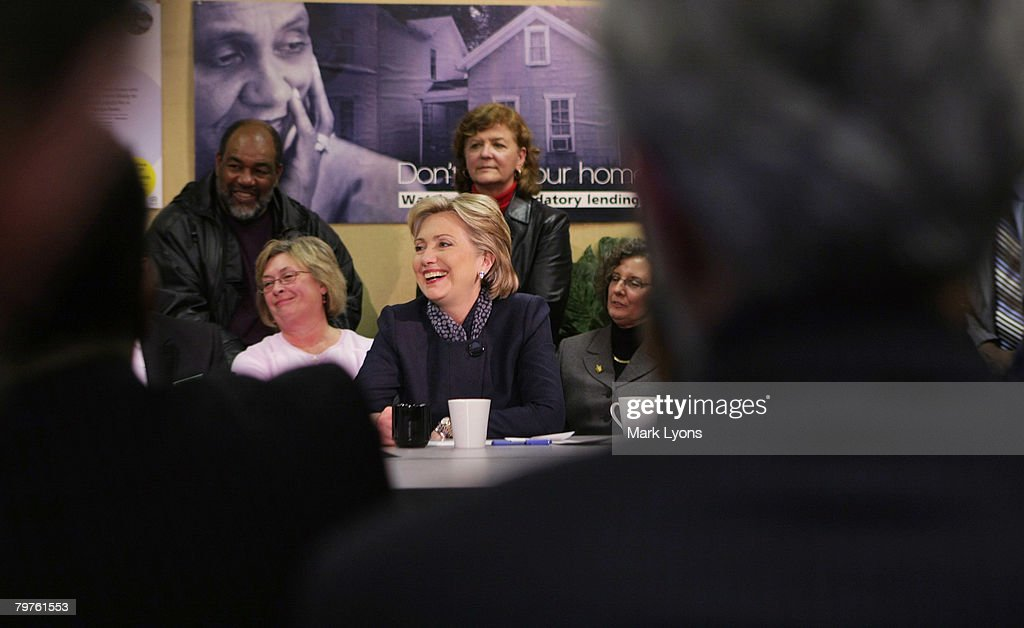 Democratic presidential hopeful Sen Hillary Clinton speaks to a group concerned about home foreclosures at the Fair River Oaks Council February 14...