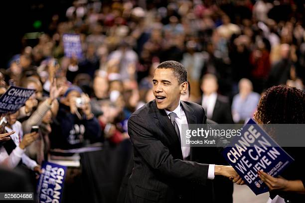 Democratic presidential hopeful Senator Barack Obama greets supporters at a campaign rally at the University of Maryland in College Park