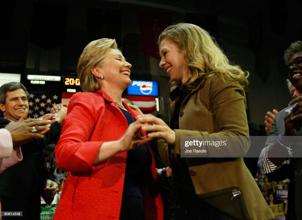 Democratic presidential hopeful Senator <a gi-track='captionPersonalityLinkClicked' href=/galleries/search?phrase=Hillary+Clinton&family=editorial&specificpeople=76480 ng-click='$event.stopPropagation()'>Hillary Clinton</a> (D-NY) and her daughter Chelsea Clinton hug after her speech at University of Pennsylvania April 21, 2008 in Philadelphia, Pennsylvania. With one day to go until primary election day in Pennsylvania, Democratic hopefuls Sen. Barack Obama, (D-IL) and Clinton continue to make their points to voters.