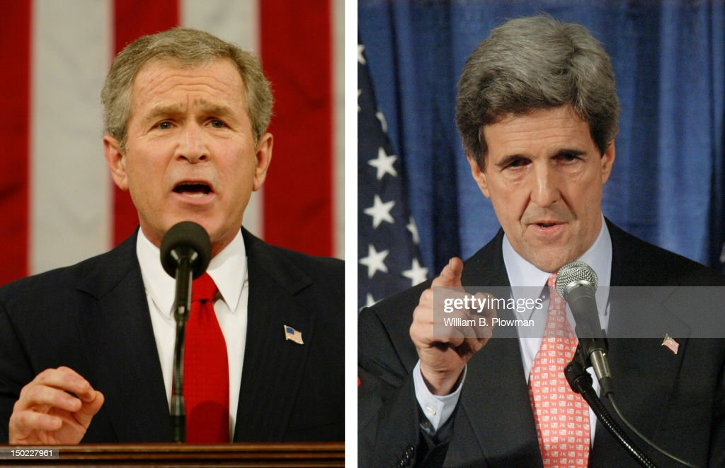 In this composite image a comparison has been made between former US Presidential Candidates <a gi-track='captionPersonalityLinkClicked' href=/galleries/search?phrase=George+W.+Bush&family=editorial&specificpeople=122011 ng-click='$event.stopPropagation()'>George W. Bush</a> (L) and <a gi-track='captionPersonalityLinkClicked' href=/galleries/search?phrase=John+Kerry&family=editorial&specificpeople=154885 ng-click='$event.stopPropagation()'>John Kerry</a>. In 2004 <a gi-track='captionPersonalityLinkClicked' href=/galleries/search?phrase=George+W.+Bush&family=editorial&specificpeople=122011 ng-click='$event.stopPropagation()'>George W. Bush</a> won the presidential election to become the President of the United States. MANCHESTER, NH - DECEMBER 27: Democratic presidential hopeful Senator <a gi-track='captionPersonalityLinkClicked' href=/galleries/search?phrase=John+Kerry&family=editorial&specificpeople=154885 ng-click='$event.stopPropagation()'>John Kerry</a> (D-MA) addresses the audience at a campaign stop at the Manchester Public Library December 27, 2003 in Manchester, New Hampshire. Kerry spent the day campaigning in New Hampshire.