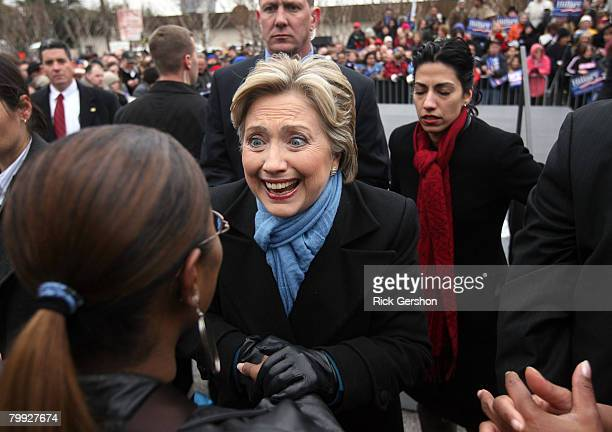 Democratic presidential hopeful US Sen Hillary Clinton greets supporters at an early voting event February 22 in Dallas Texas The Texas primary is a...