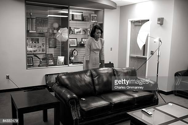 Democratic presidential hopeful US Senator Barack Obama 's wife Michelle Obama backstage before her husband's speech during a rally at the North...