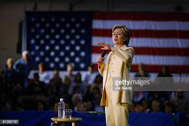 Democratic presidential hopeful US Senator Hillary Clinton addresses a crowd of supporters during a campaign event held at the George Washington...