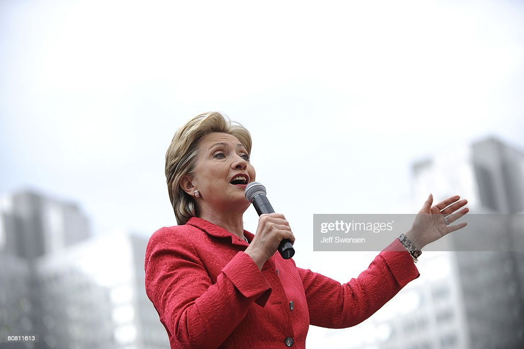 Democratic presidential hopeful U.S. Senator <a gi-track='captionPersonalityLinkClicked' href=/galleries/search?phrase=Hillary+Clinton&family=editorial&specificpeople=76480 ng-click='$event.stopPropagation()'>Hillary Clinton</a> (D-NY) speaks during a campaign rally in Market Square April 21, 2008 in Pittsburgh, Pennsylvania. With one day to go until primary election day Clinton and Sen. Barack Obama (D-IL) continue to campaign across the state.