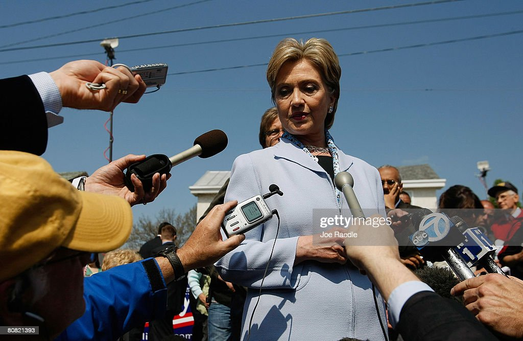 Democratic presidential hopeful U.S. Senator <a gi-track='captionPersonalityLinkClicked' href=/galleries/search?phrase=Hillary+Clinton&family=editorial&specificpeople=76480 ng-click='$event.stopPropagation()'>Hillary Clinton</a> (D-NY) speaks to the media April 22, 2008 in Conshohocken, Pennsylvania. Clinton and her competition, Sen. Barack Obama (D-IL), are vying for the state as they battle for the Democratic nomination.