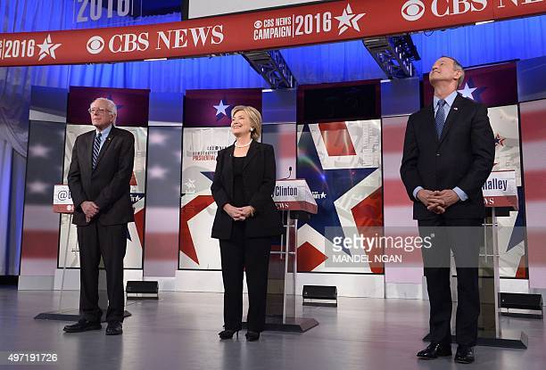 Democratic Presidential hopefuls Bernie Sanders Hillary Clinton and Martin OMalley arrive for the second Democratic presidential primary debate in...