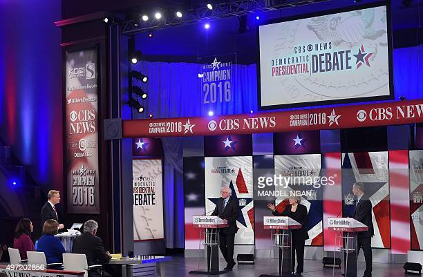 Democratic presidential hopefuls Bernie Sanders Hillary Clinton and Martin OMalley take part in the second Democratic presidential primary debate in...
