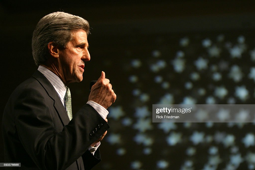 Democratic presidential nominee and United States Senator John Kerry speaks to supporters at a fundraising campaign rally in Boston Massachusetts...