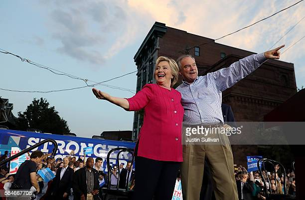 Democratic presidential nominee former Secretary of State Hillary Clinton and vice presidential nominee US Sen Tim Kaine greet supporters during a...