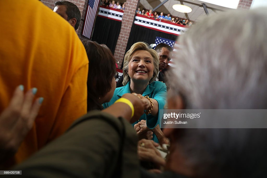 Democratic presidential nominee former Secretary of State Hillary Clinton speaks during a campaign even at Truckee Meadows Community College on...