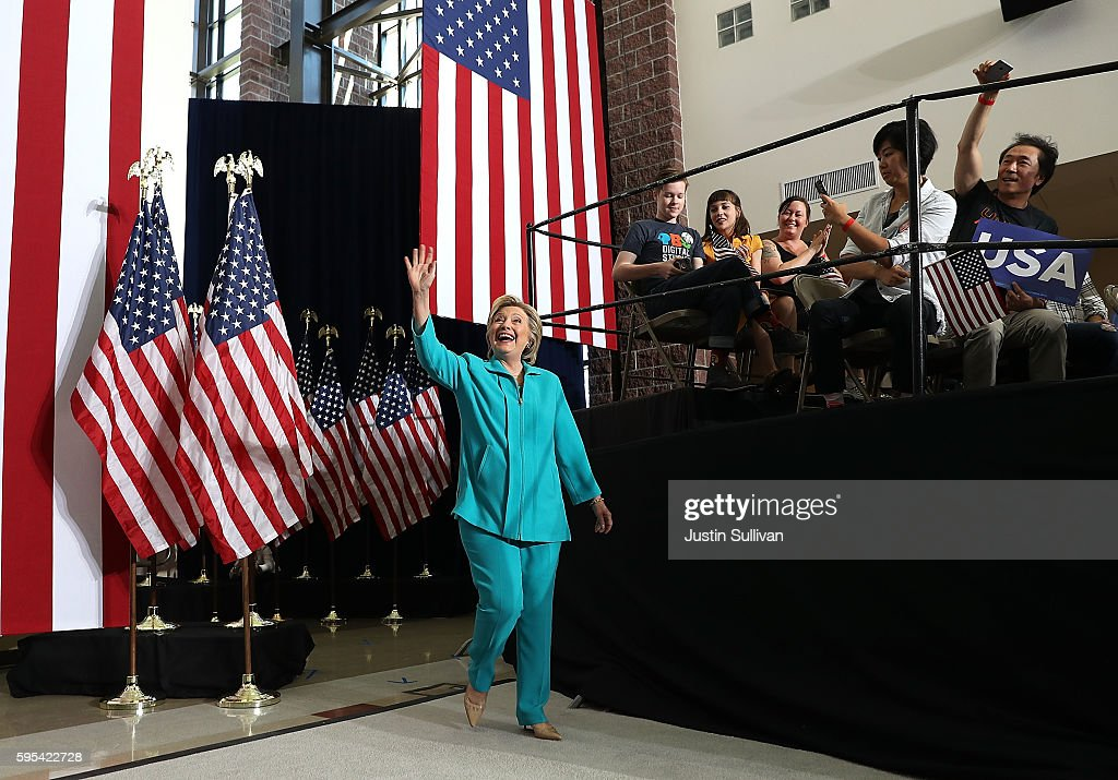 Democratic presidential nominee former Secretary of State Hillary Clinton greets supporters during a campaign even at Truckee Meadows Community...