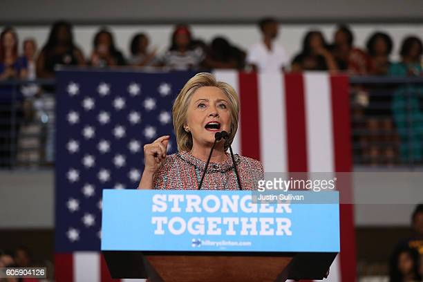 Democratic presidential nominee former Secretary of State Hillary Clinton speaks during a campaign rally at UNC Greensboro on September 15 2016 in...