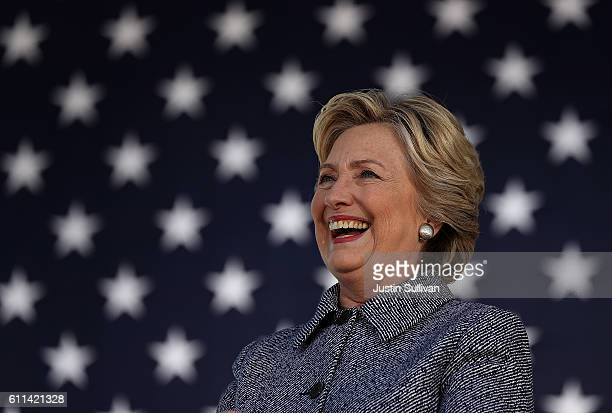 Democratic presidential nominee former Secretary of State Hillary Clinton speaks during a campaign rally on September 29 2016 in Des Moines Iowa...