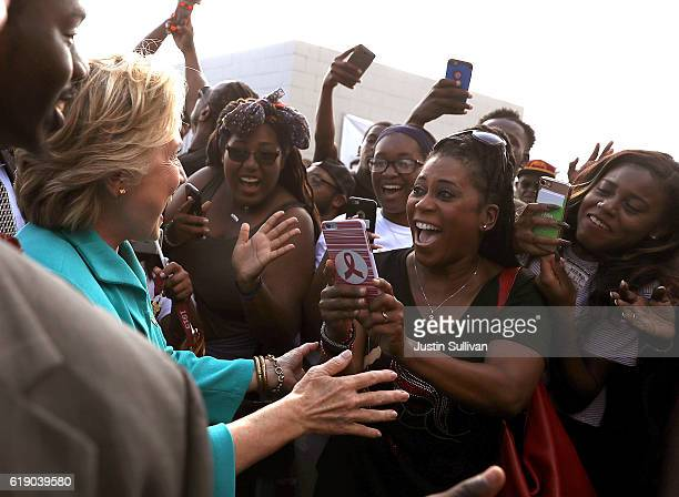Democratic presidential nominee former Secretary of State Hillary Clinton greets attendees during a tailgate party at BethuneCookman University on...
