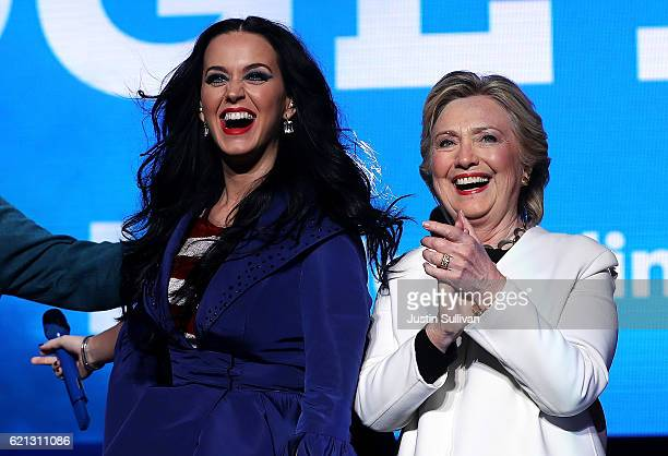 Democratic presidential nominee former Secretary of State Hillary Clinton appears on stage with recording artist Katy Perry during a getoutthevote...