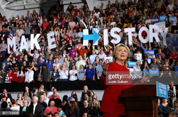 Democratic presidential nominee former Secretary of State Hillary Clinton speaks during a campaign rally at North Carolina State University on...