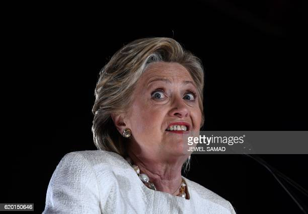 US Democratic presidential nominee Hillary Clinton addresses a campaign rally in Sanford Florida on November 1 2016 With one week to go until...